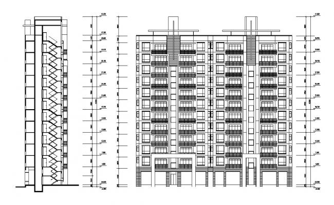 Elevation And Section Luxury Apartments Building AutoCAD File