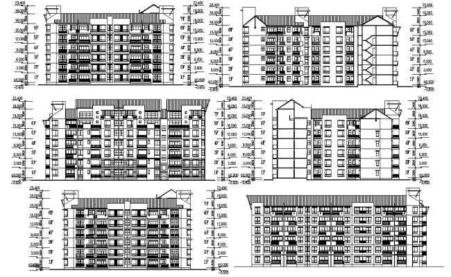 Elevation And Section Of Apartment AutoCAD File