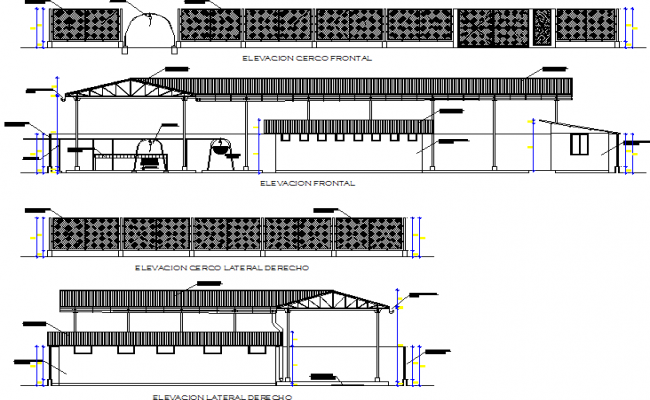 Elevation Banana packing plant detail dwg file