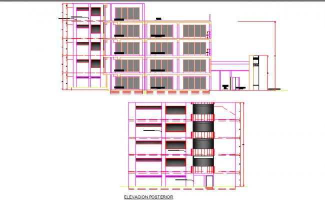 Elevation Commercial building plan detail dwg file