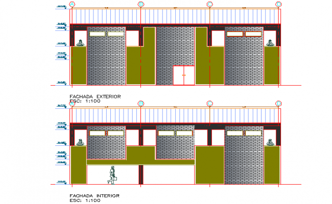 Elevation Commercial building plan detail dwg file