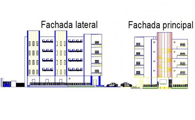 Elevation Departments with commercial area reservoir detail dwg file