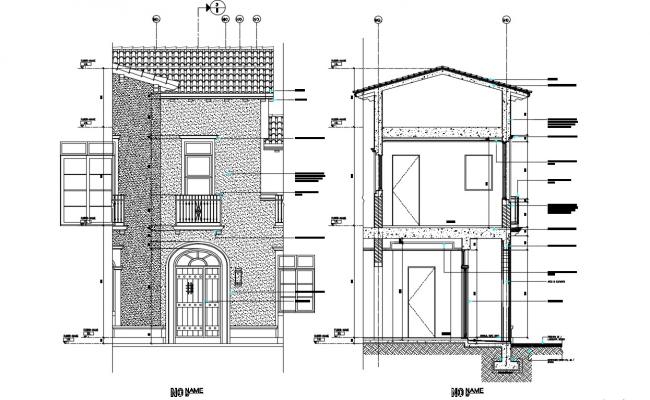 Elevation Design For Bungalow With Section Detail AutoCAD Detail File