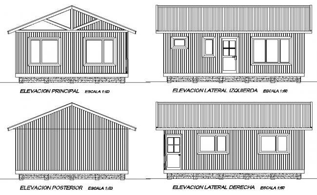 Elevation Design holiday cabin plan detail dwg file