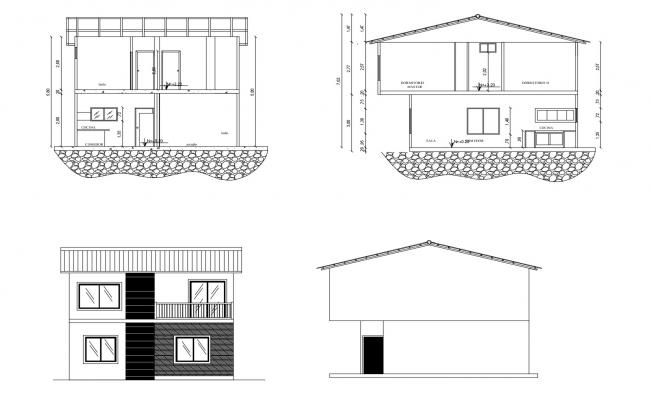 2 storey house elevation drawings in AutoCAD file