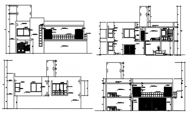 Elevation Drawing of house design in dwg file