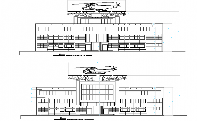 Elevation Institutional building with heliport plan detail dwg file