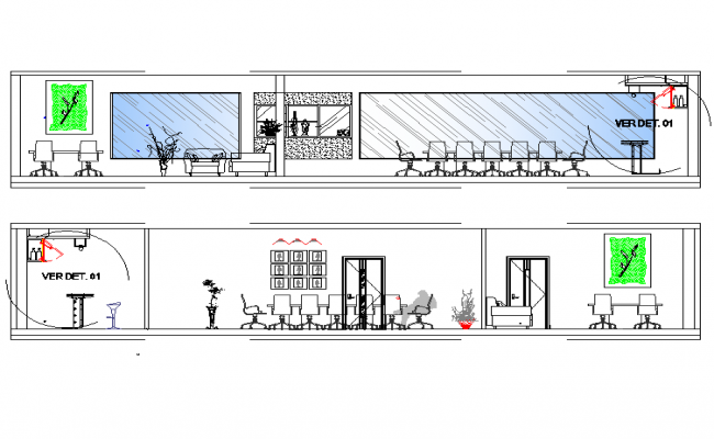 Elevation Meeting room design plan detail