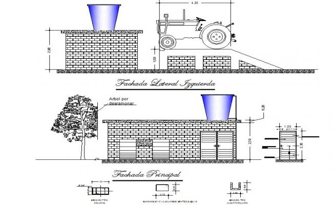 Elevation Oil ramp for tractors plan detail dwg file
