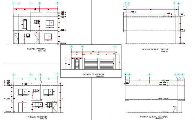 Elevation Project executive home autocad file