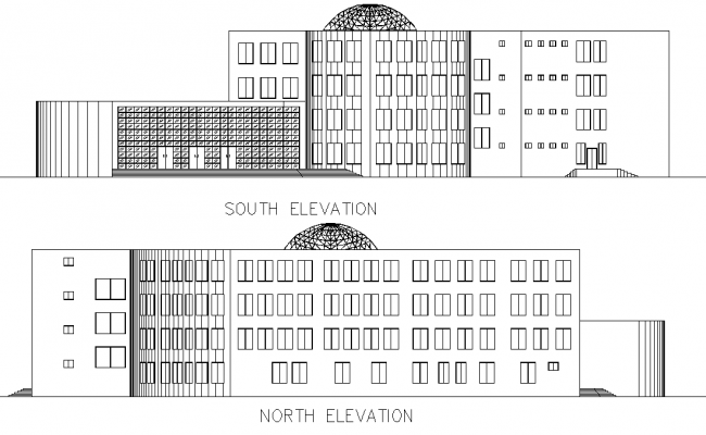Elevation Scientific center plan detail dwg file