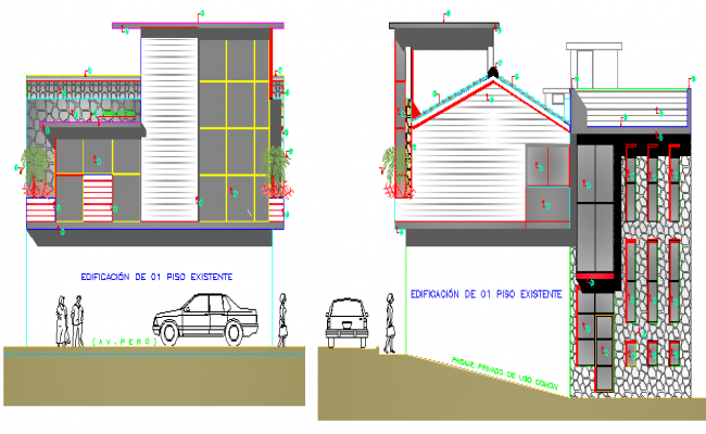 Elevation View of Family House Architecture Design dwg file