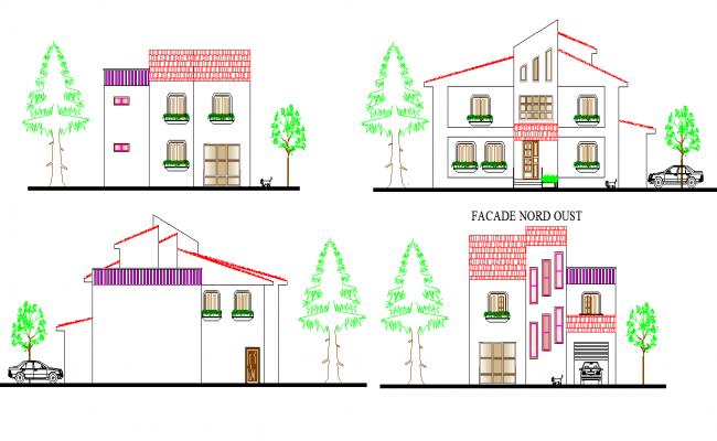 Elevation Villa plan autocad file