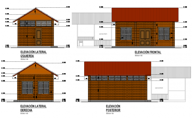 Elevation administrative house plan autocad file