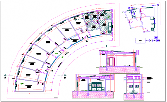 Elevation For Circular Plan : Elevation and circular design layout plan of building