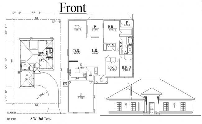 Elevation and House Plan Design AutoCAD Drawing