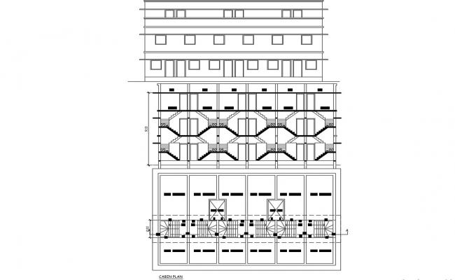 Elevation and Section Detail of Bungalow CAD Drawing