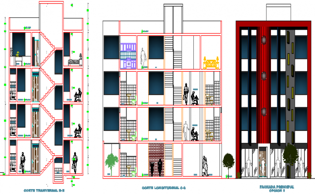 Elevation and Section Details of Multi-Flooring Housing Building with Office and Store dwg file