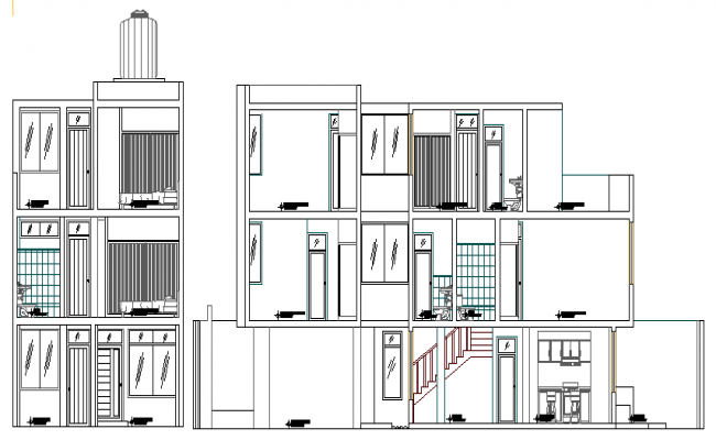 Elevation and Section Plan of Housing Project dwg file