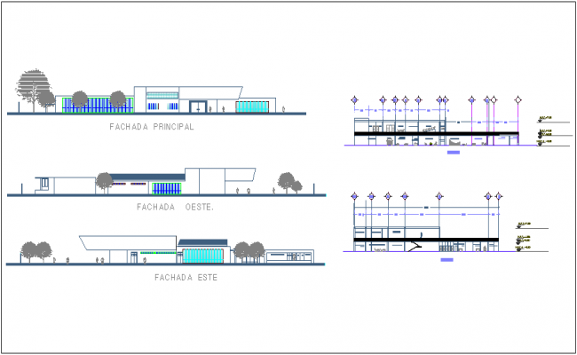 Elevation and different axis section view for clinic dwg file