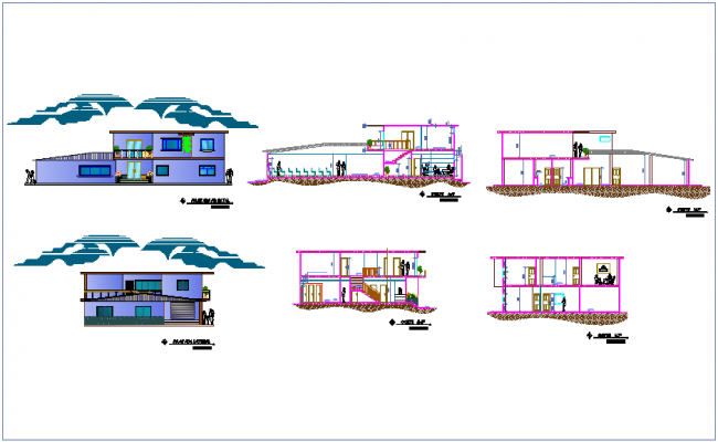 Elevation and different axis section view for communal office dwg file