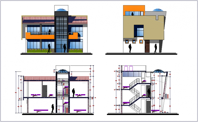 Elevation and different axis section view for community center dwg file