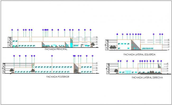 Elevation and different axis section view for hospital building dwg file