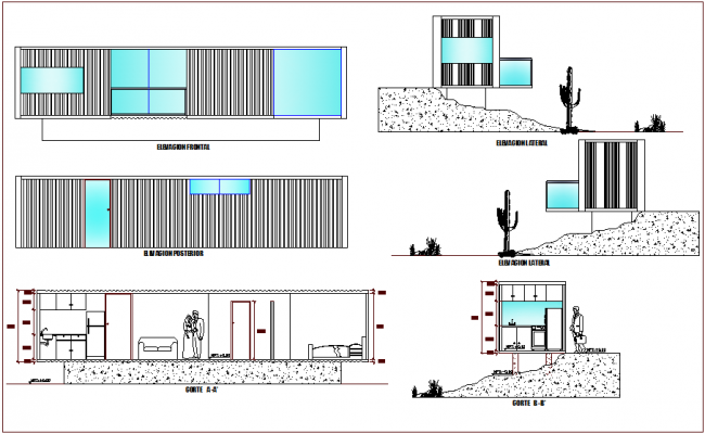 Elevation and different axis section view for house building dwg file