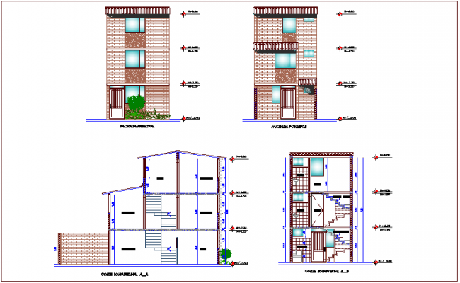 Elevation and different axis section view for housing project of Columbia dwg file