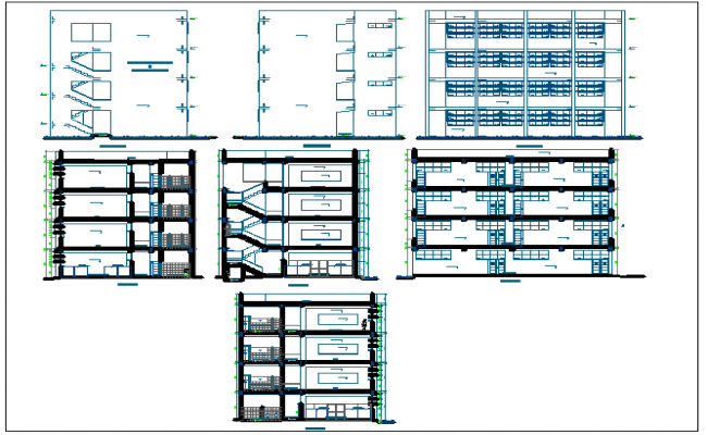 Elevation and different axis section view for law collage building dwg file