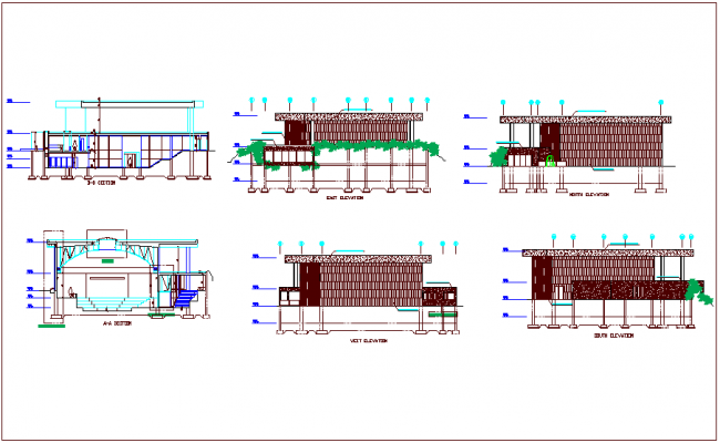 Elevation and different axis section view for multipurpose room  building dwg file