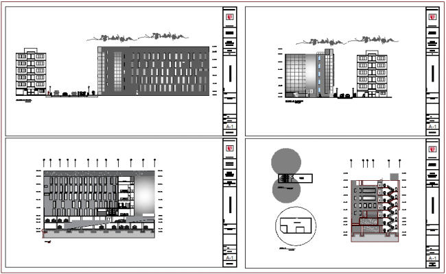 Elevation and different axis section view of clinic building dwg file