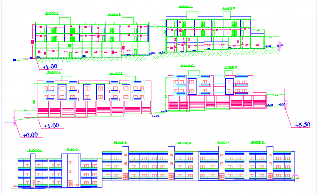 Elevation and different axis section view of high rise building dwg file