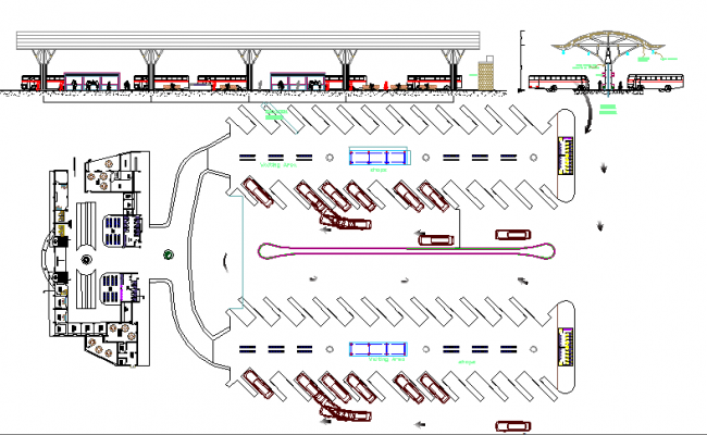 Plan Elevation Section Of Bus Stop : Elevation and ground floor details of bus terminal design