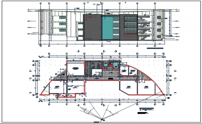 Elevation and plan commercial detail dwg file