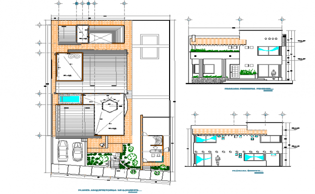 Elevation and plan detail dwg file