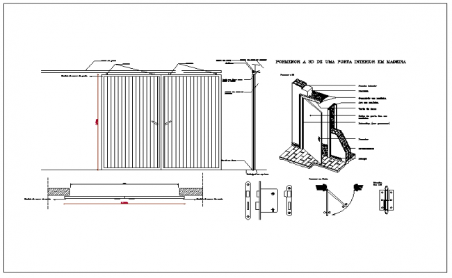 Elevation Plan Details : Elevation and plan view of door dwg file