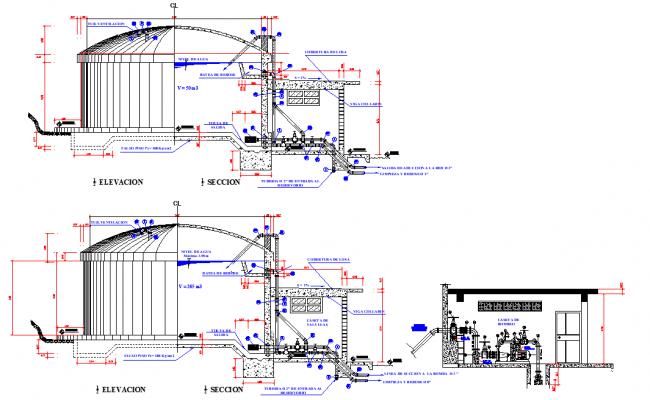 Elevation and section 265m3 tank plan layout file