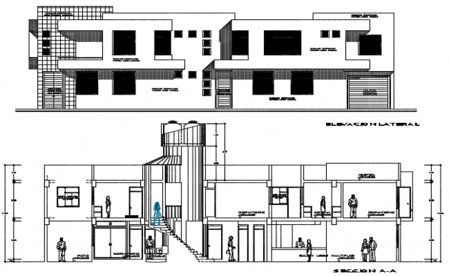 Elevation and section Apartment building plan detail dwg file