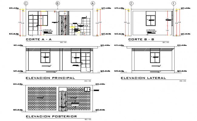 Elevation and section Basic module type plan autocad file