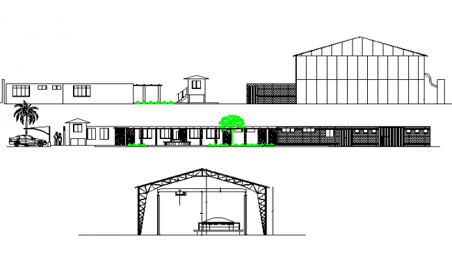 Elevation and section Broadening banquet no plant detail dwg file