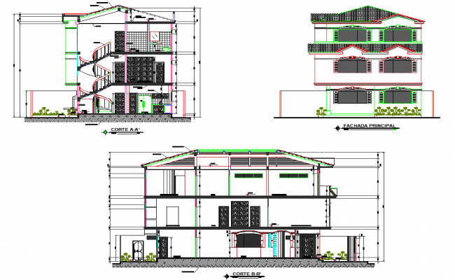 Elevation and section Contemporary housing plan layout file