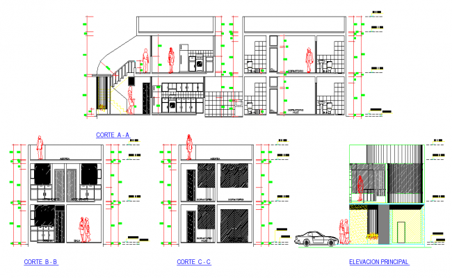 Elevation and section Family house full project layout file