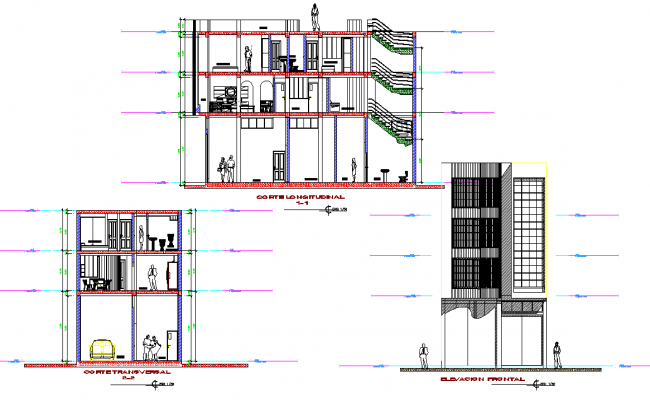 Elevation and section Family house plan layout file