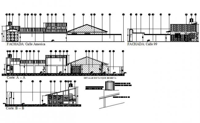 Elevation and section Kinder garden and nursery plan detail dwg file