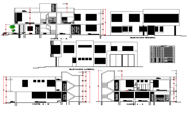 Elevation and section Local remodelling dwg file