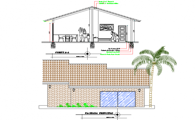 Elevation and section One family housing plan detail dwg file
