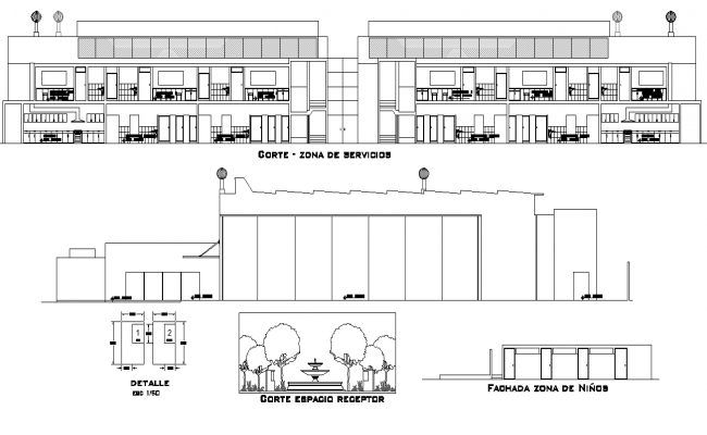 Elevation and section Salon social plan detail dwg file