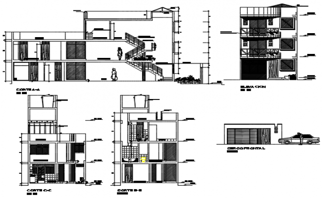 Elevation and section Triplex house plan detail dwg file