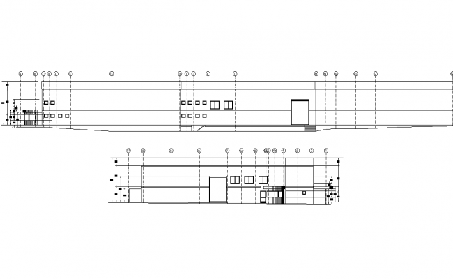 Elevation and section Ware house plan detail dwg file